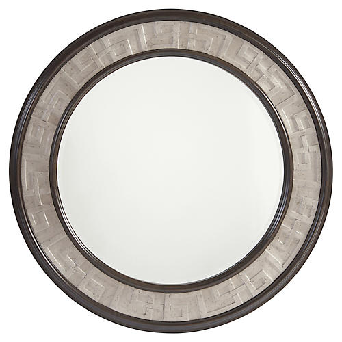 Georgina Round Wall Mirror, Wilshire Brown