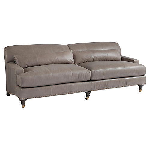 Oxford Sofa, Taupe Leather