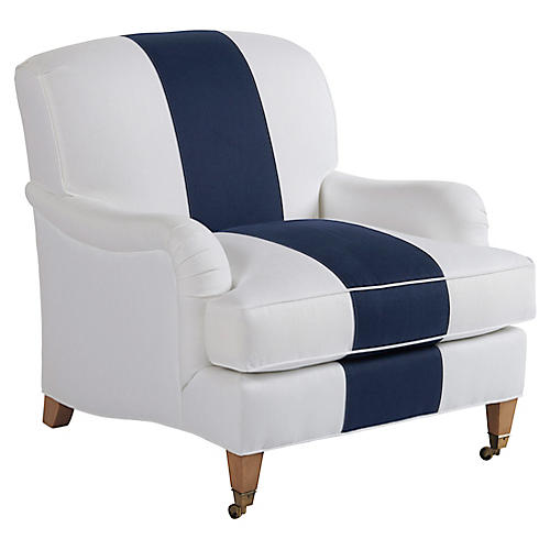 Sydney Club Chair, Navy/White Linen