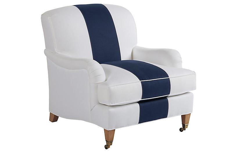 Sydney Club Chair, Navy/White Linen
