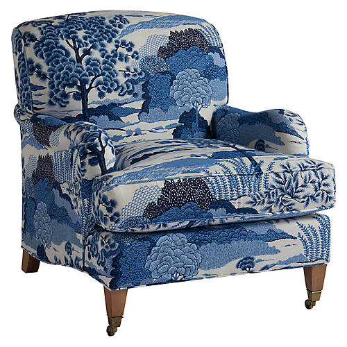 Sydney Club Chair, Blue Chinoiserie Linen
