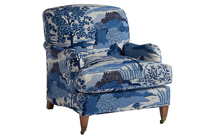 Sydney Club Chair, Blue Chinoiserie Linen
