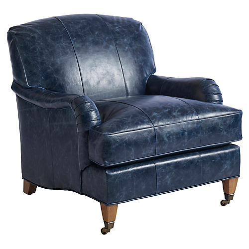 Sydney Club Chair, Blue Leather
