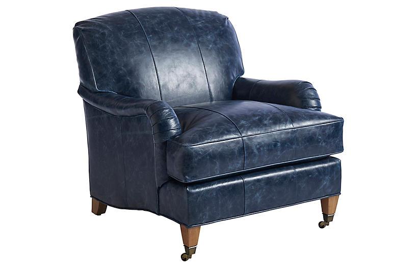 Sydney Club Chair, Blue Leather