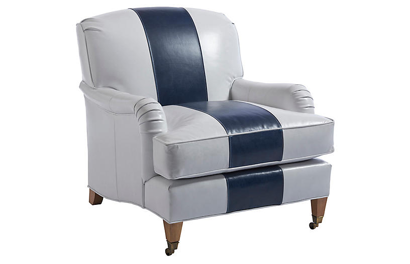 Sydney Club Chair, Navy/White Leather