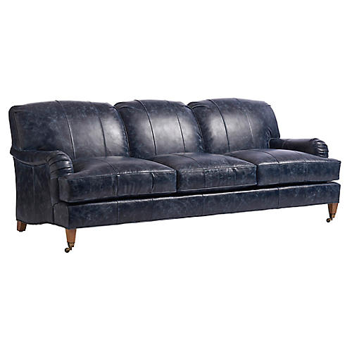 Sydney Sofa, Blue Leather