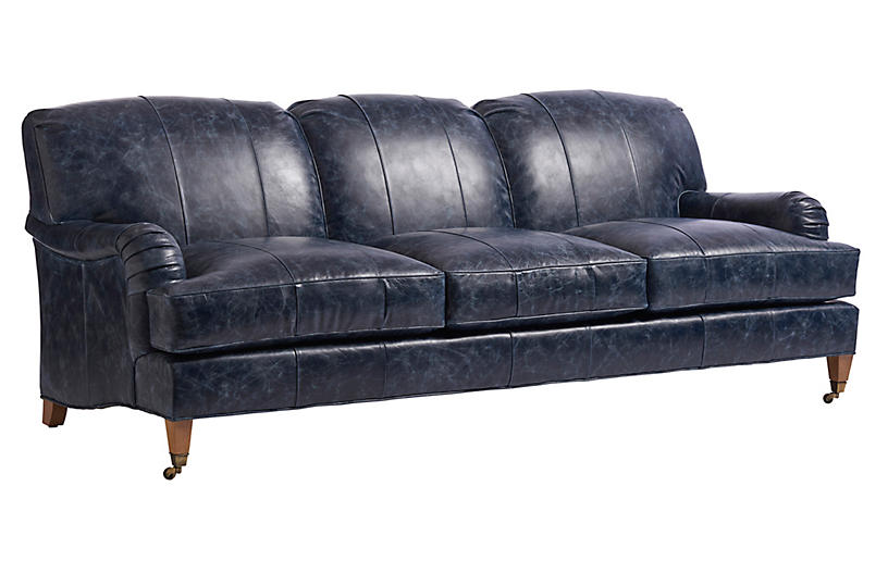 Sydney Sofa, Blue Leather
