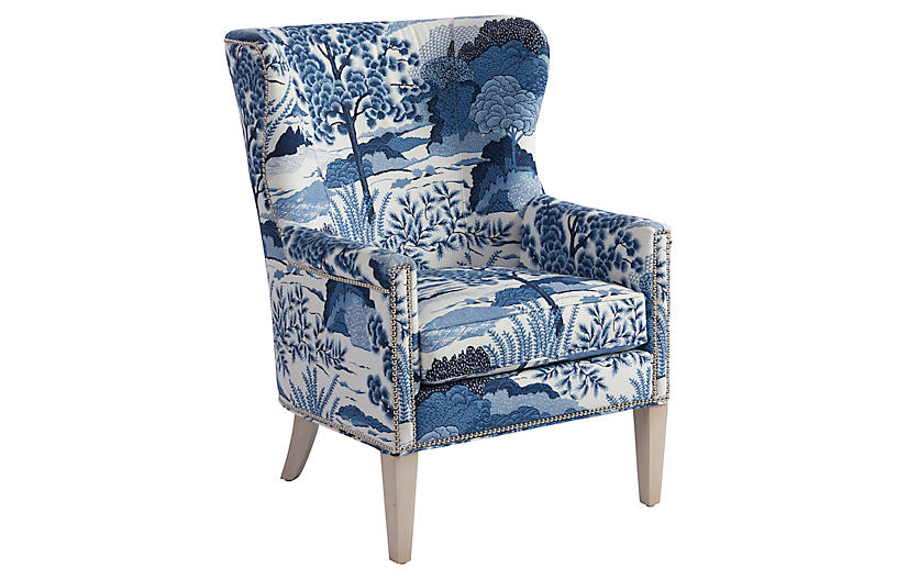 Avery Wingback Chair, Blue/White Linen