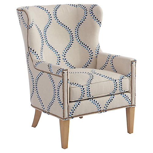 Avery Wingback Chair, Blue Linen