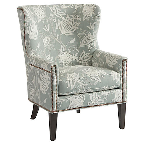 Avery Wingback Chair, Seafoam Linen
