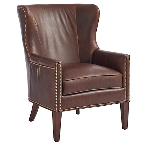 Avery Wingback Chair, Saddle Leather