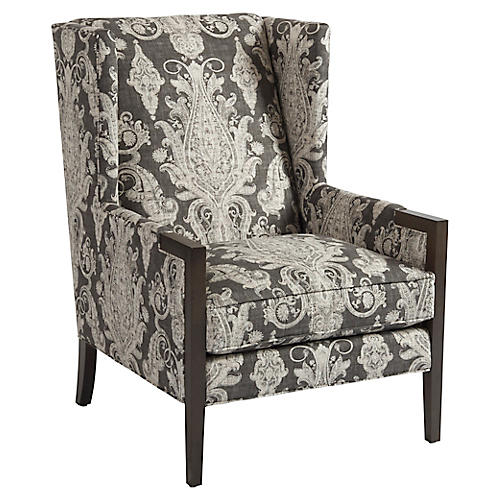 Stratton Wingback Chair, Charcoal Linen