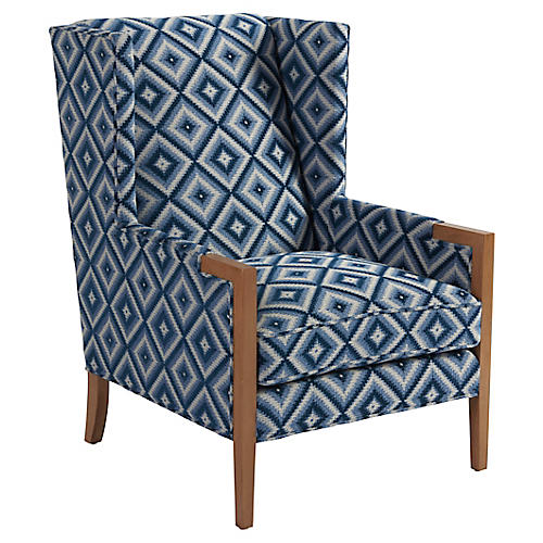 Stratton Wingback Chair, Indigo