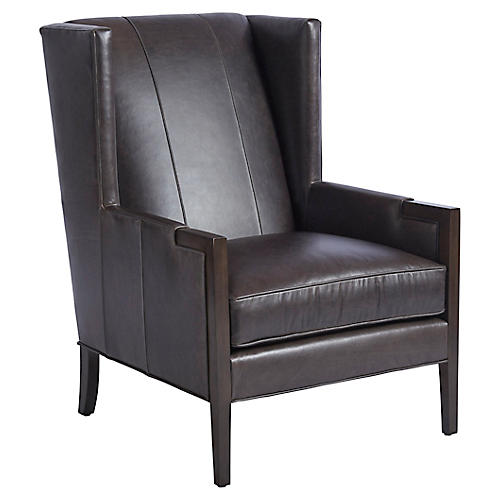 Stratton Wingback Chair, Espresso Leather