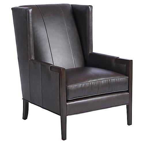 Stratton Wingback Chair, Espresso Leather