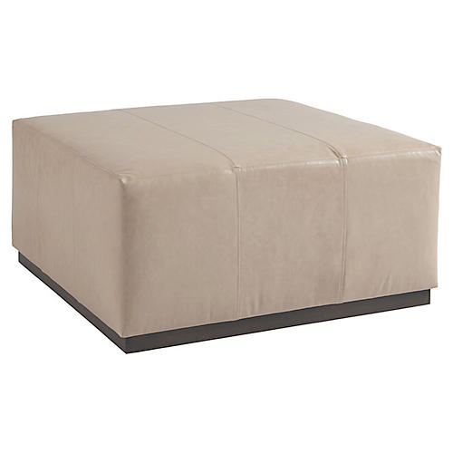 Clayton Cocktail Ottoman, Sand Leather