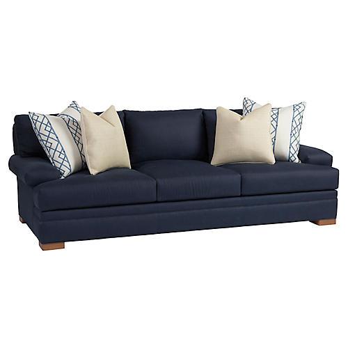 Maxwell Sofa, Navy Linen