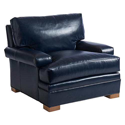 Maxwell Club Chair, Blue Leather