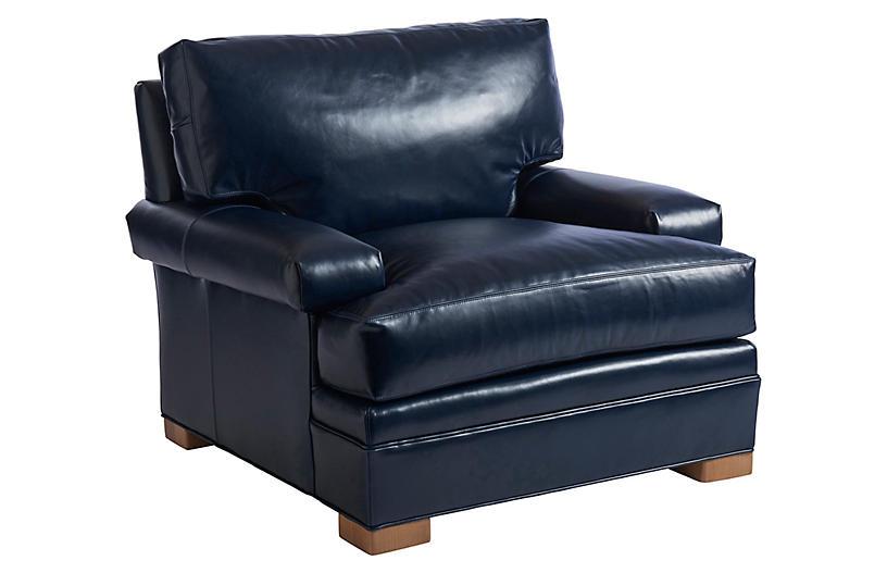 Maxwell Club Chair, Blue Leather