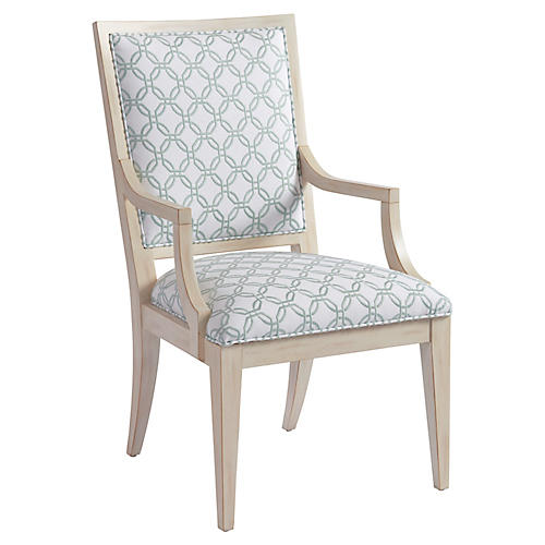 Eastbluff Armchair, White/Sage
