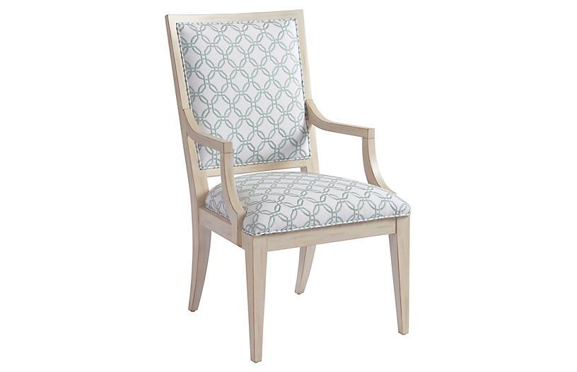 Eastbluff Armchair, White/Sage