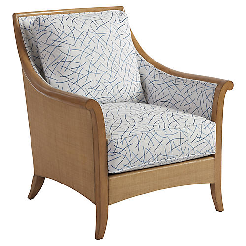 Nantucket Raffia Accent Chair, Blue/White