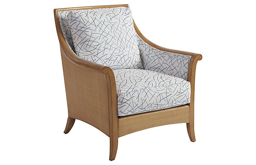 Nantucket Raffia Accent Chair, Blue/White