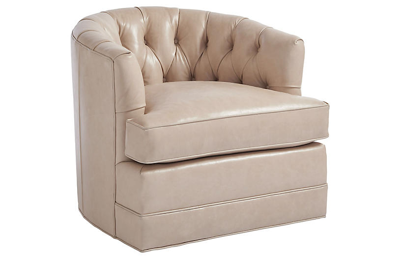 Cliffhaven Swivel Club Chair, Sand Leather