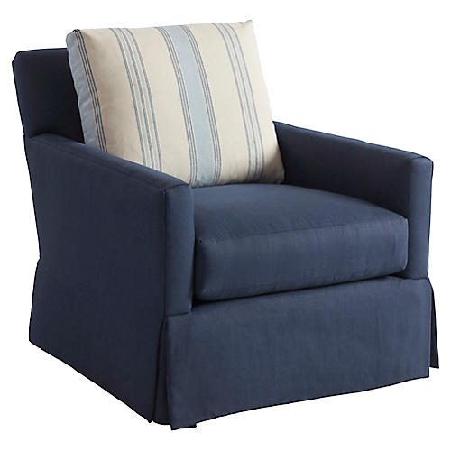 Harlow Swivel Chair, Navy Linen