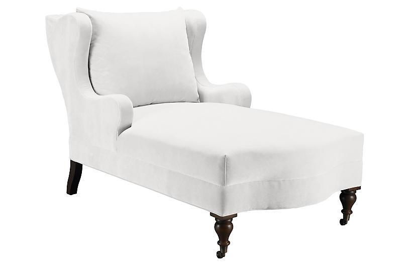 Montclaire Chaise, Snow Velvet