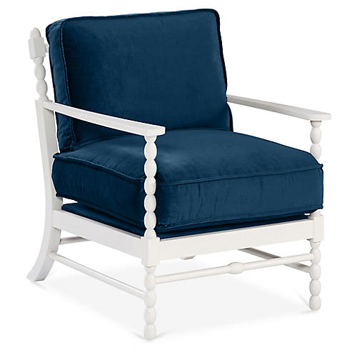 Laguna Accent Chair, Denim Velvet