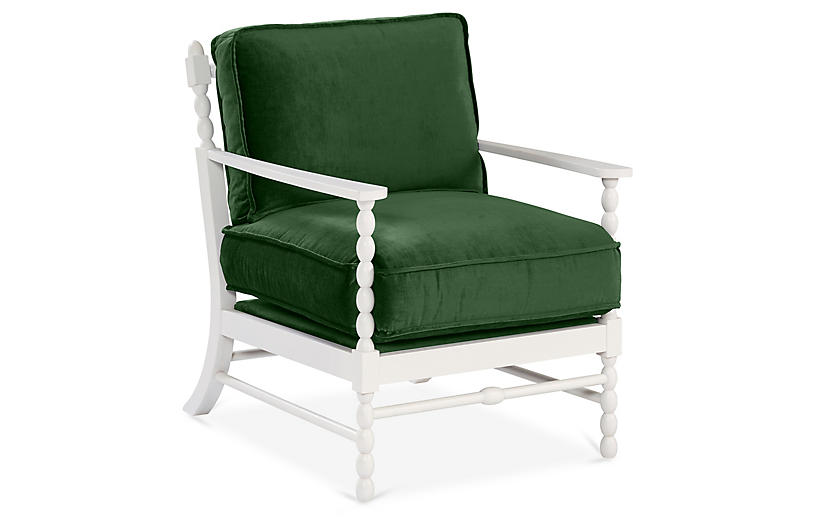 Laguna Accent Chair, Emerlad Velvet