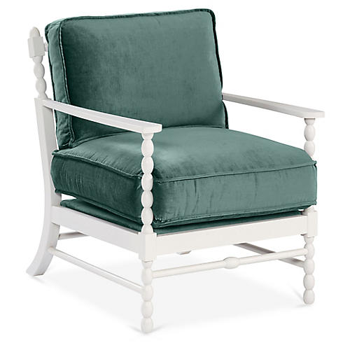 Laguna Accent Chair, Jade Velvet