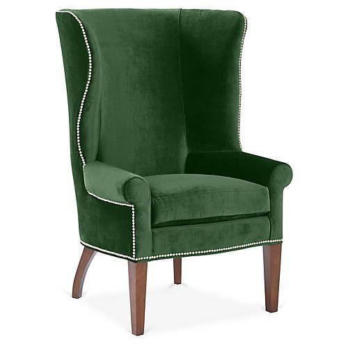 Throwback Wingback Chair, Emerald Velvet