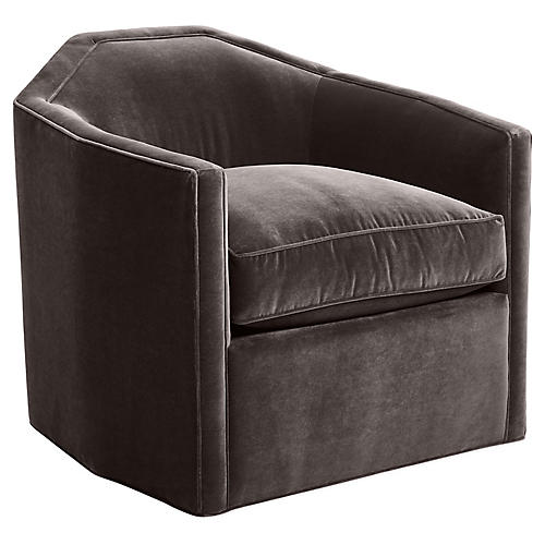 Speakeasy Swivel Club Chair, Charcoal Velvet