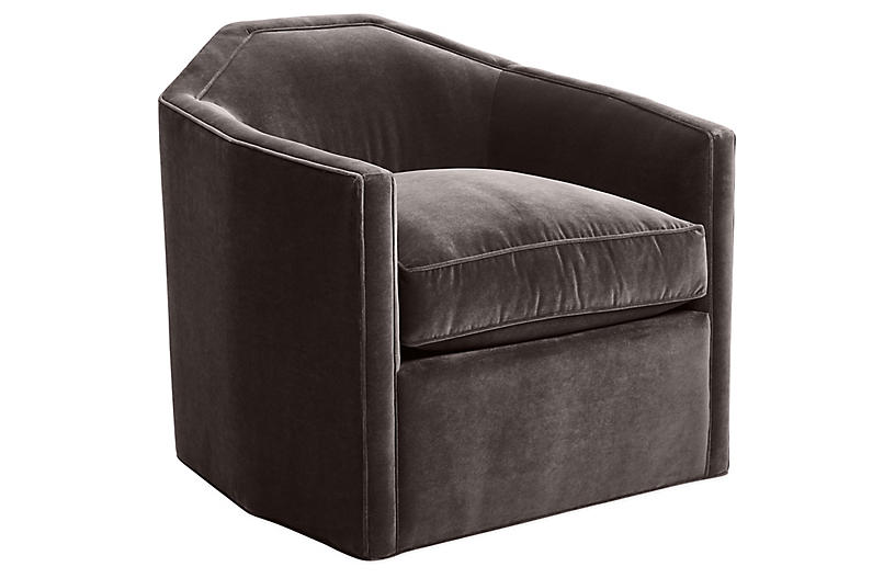 Speakeasy Swivel Club Chair, Charcoal Velvet