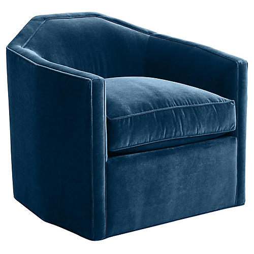 Speakeasy Swivel Glider Chair, Denim Velvet