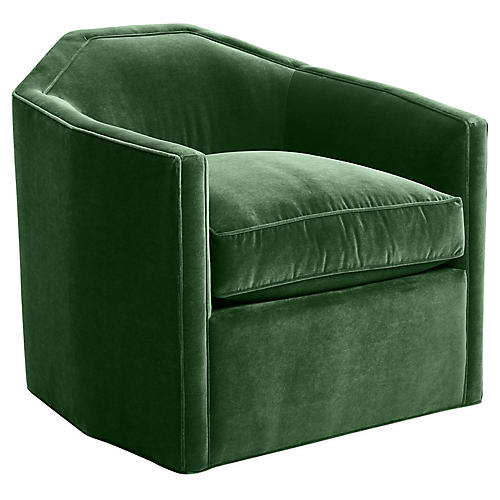 Speakeasy Swivel Glider Chair, Emerald Velvet