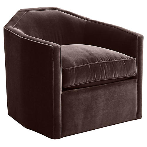 Speakeasy Swivel Glider Chair, Chocolate Velvet
