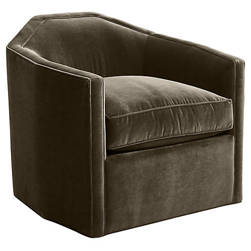 Speakeasy Swivel Glider Chair, Mink Velvet