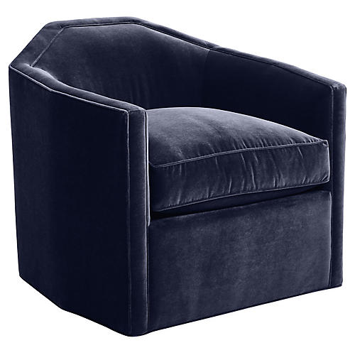 Speakeasy Swivel Club Chair, Navy Velvet