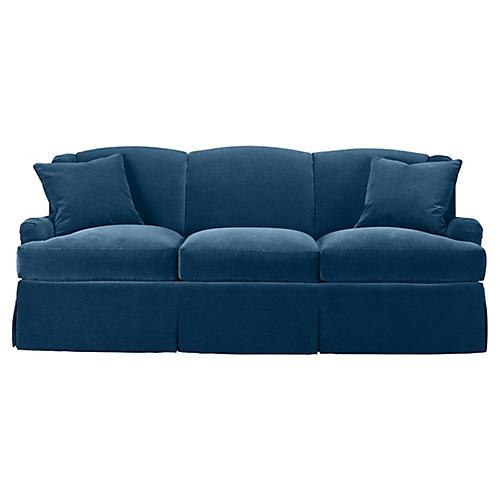 Skirted Lounge Sofa, Denim Velvet