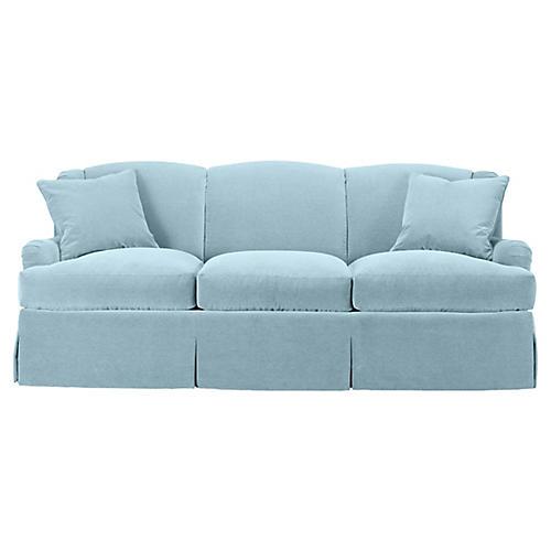 Skirted Lounge Sofa, Sky Blue Velvet