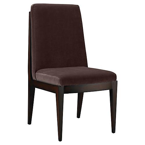 Livingston Side Chair, Chocolate Velvet