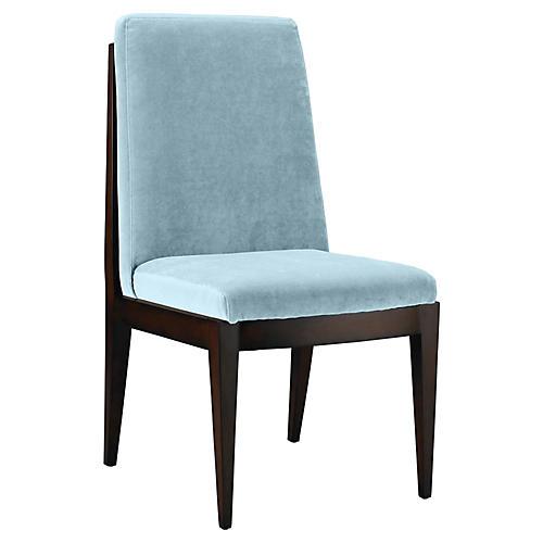 Livingston Side Chair, Sky Blue Velvet