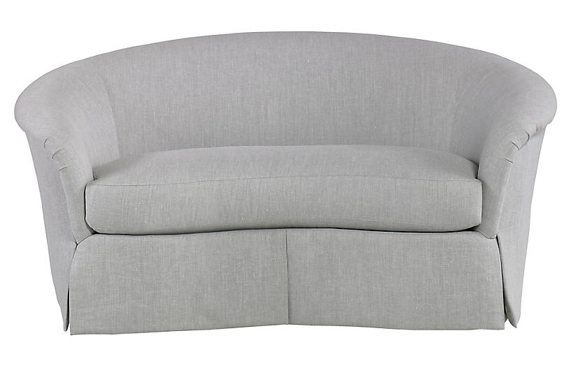 Crescent Loveseat, Dove Gray Linen
