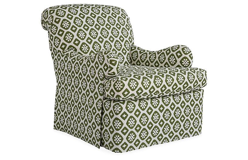 Edwardian Club Chair, Hunter Green/Ivory Linen