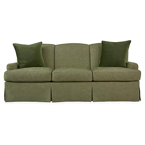 Winged Lounge Sofa, Spring Green