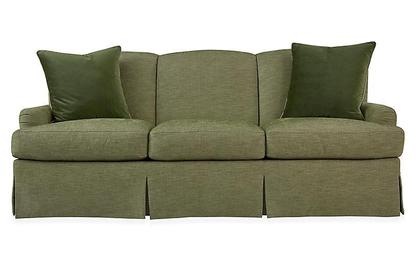 Winged Lounge Sofa, Spring Green