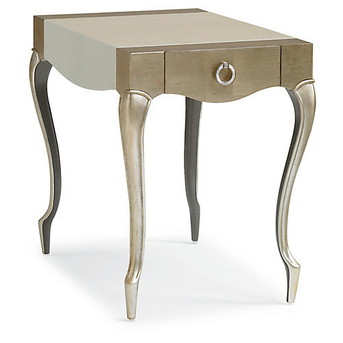 French-Y Faux-Shagreen Side Table, Taupe